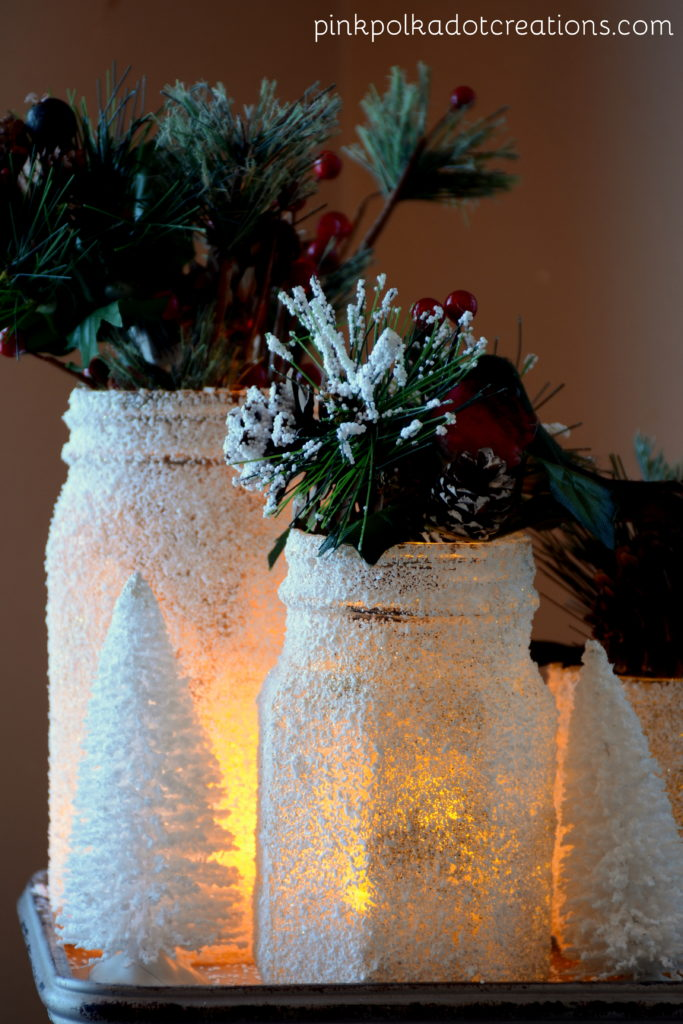 frosted Christmas jars