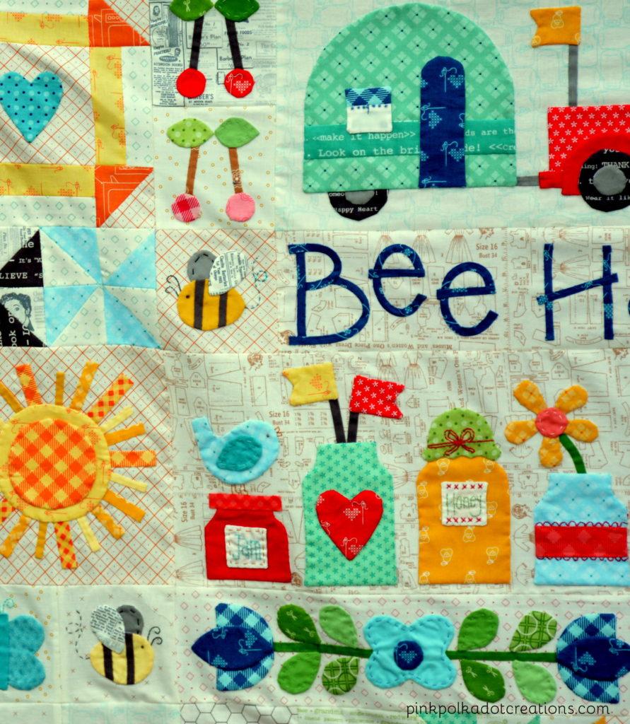 bee happy quilt-WIP
